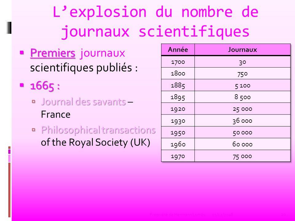 Lexplosion du nombre de journaux scientifiques Premiers Premiers journaux scientifiques publiés : 1665 : 1665 : Journal des savants Journal des savant
