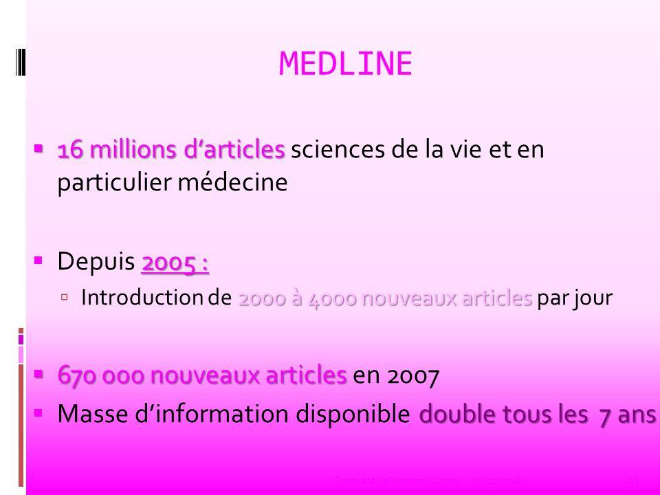 MEDLINE 16 millions darticles 16 millions darticles sciences de la vie et en particulier médecine 2005 : Depuis 2005 : 2000 à 4000 nouveaux articles I