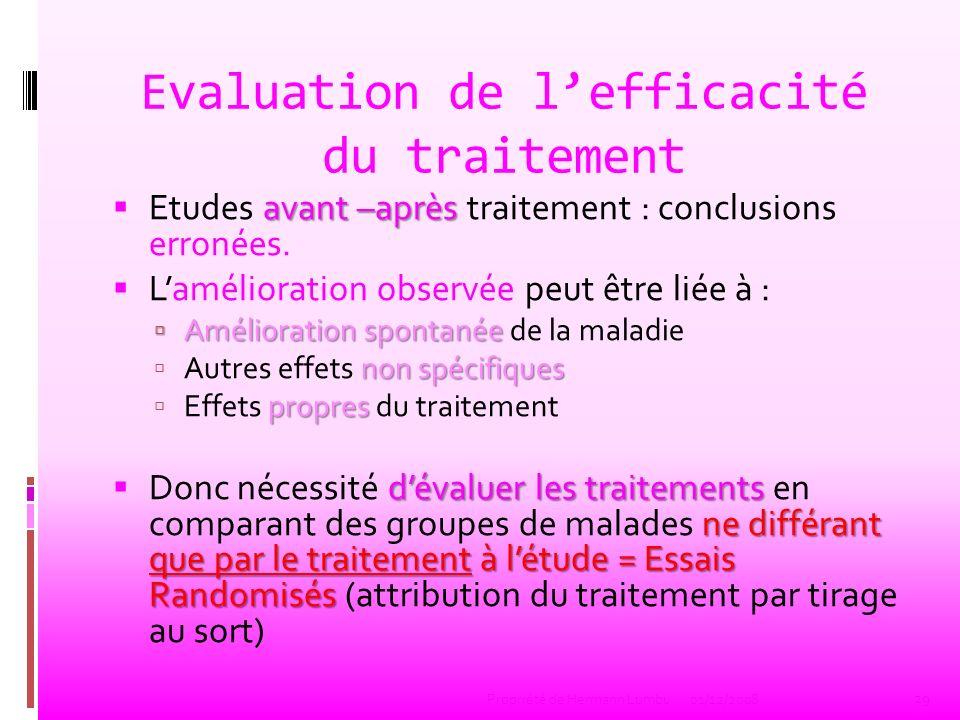 Evaluation de lefficacité du traitement avant –après Etudes avant –après traitement : conclusions erronées. Lamélioration observée peut être liée à :