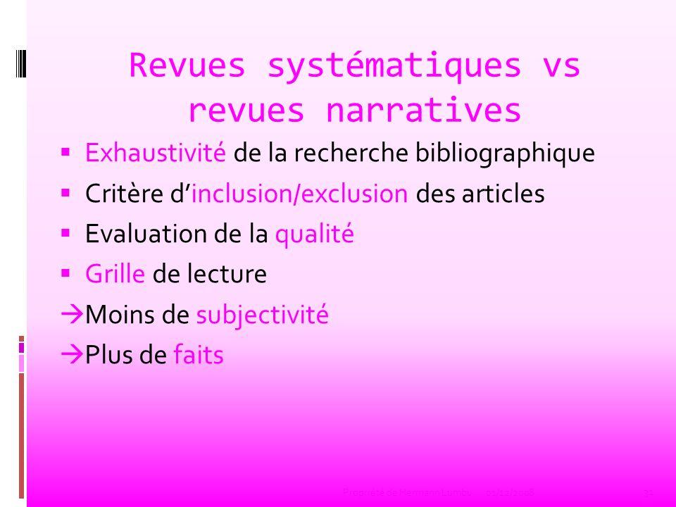 Revues systématiques vs revues narratives Exhaustivité de la recherche bibliographique Critère dinclusion/exclusion des articles Evaluation de la qual