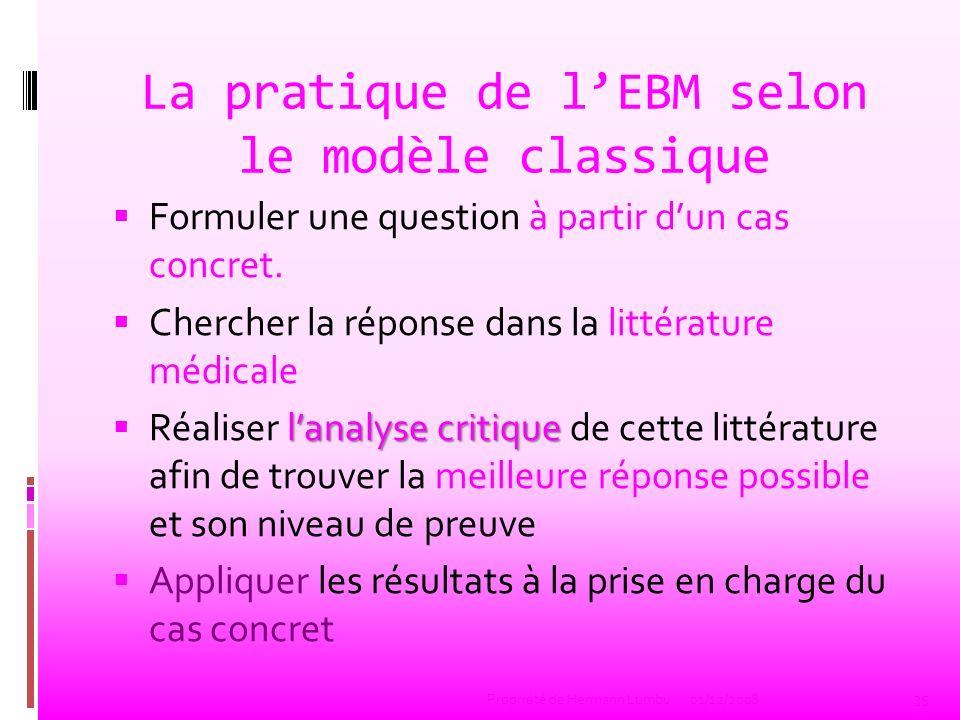La pratique de lEBM selon le modèle classique Formuler une question à partir dun cas concret. Chercher la réponse dans la littérature médicale lanalys