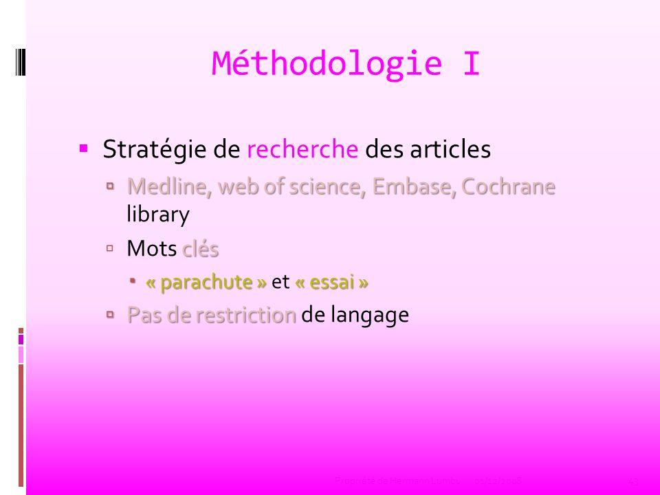 Méthodologie I Stratégie de recherche des articles Medline, web of science, Embase, Cochrane Medline, web of science, Embase, Cochrane library clés Mo