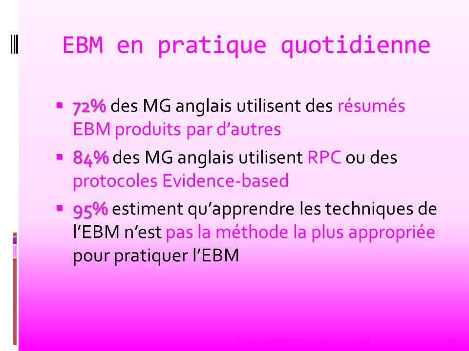 EBM en pratique quotidienne 72% 72% des MG anglais utilisent des résumés EBM produits par dautres 84% 84% des MG anglais utilisent RPC ou des protocol