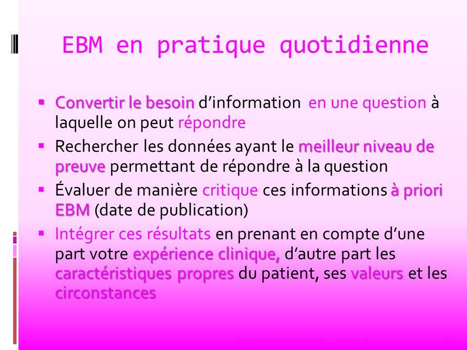 EBM en pratique quotidienne Convertir le besoin Convertir le besoin dinformation en une question à laquelle on peut répondre meilleur niveau de preuve