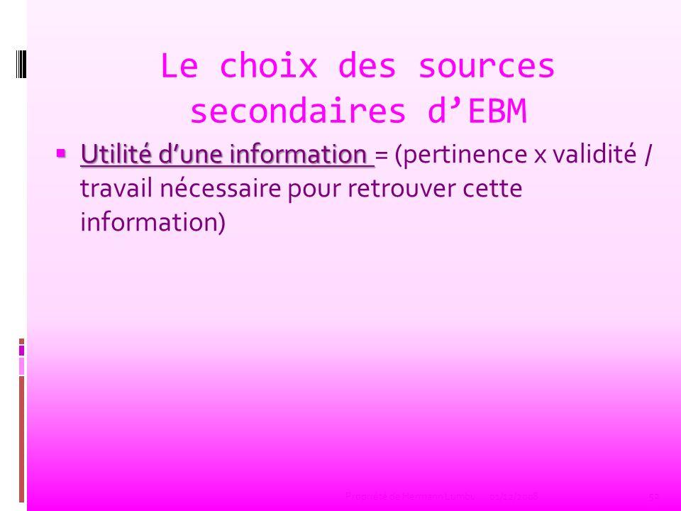 Le choix des sources secondaires dEBM Utilité dune information Utilité dune information = (pertinence x validité / travail nécessaire pour retrouver c
