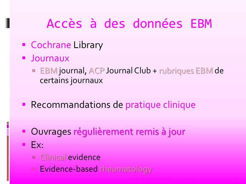 Accès à des données EBM Cochrane Library Journaux EBM ACP rubriques EBM EBM journal, ACP Journal Club + rubriques EBM de certains journaux Recommandat