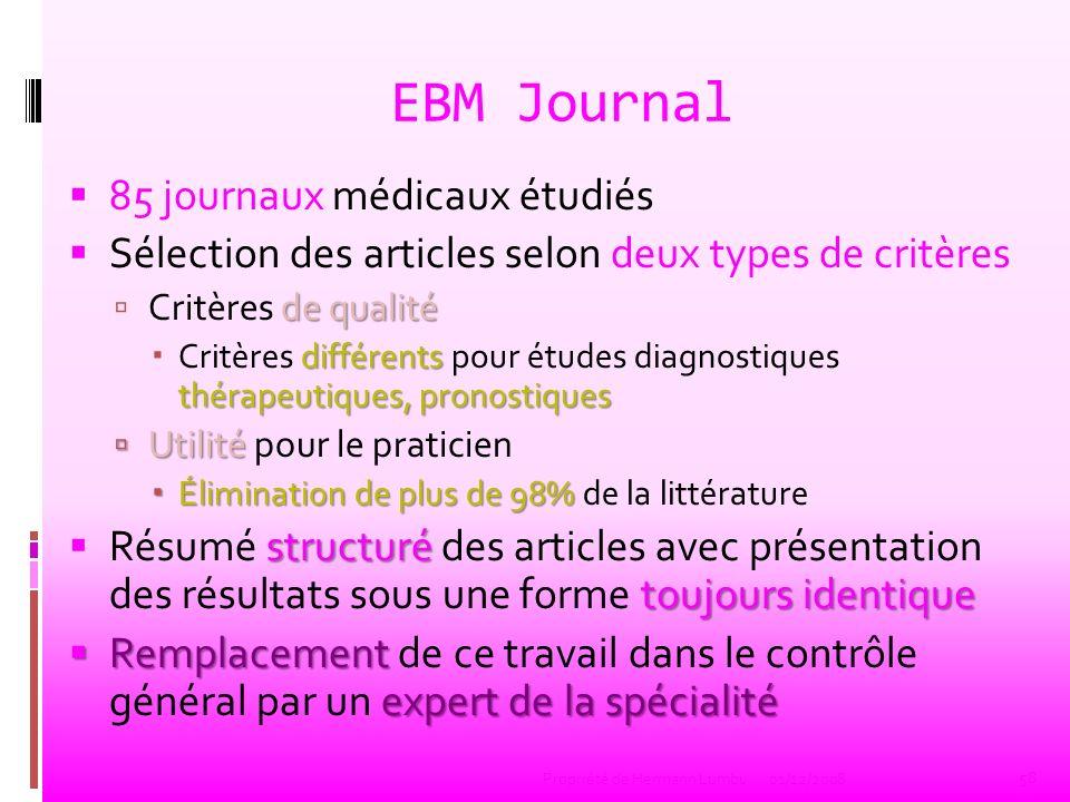 EBM Journal 85 journaux médicaux étudiés Sélection des articles selon deux types de critères de qualité Critères de qualité différents thérapeutiques,