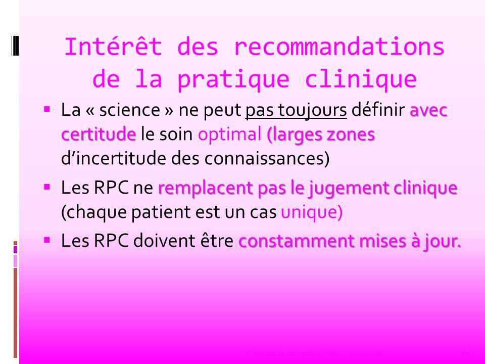 Intérêt des recommandations de la pratique clinique avec certitude(larges zones La « science » ne peut pas toujours définir avec certitude le soin opt