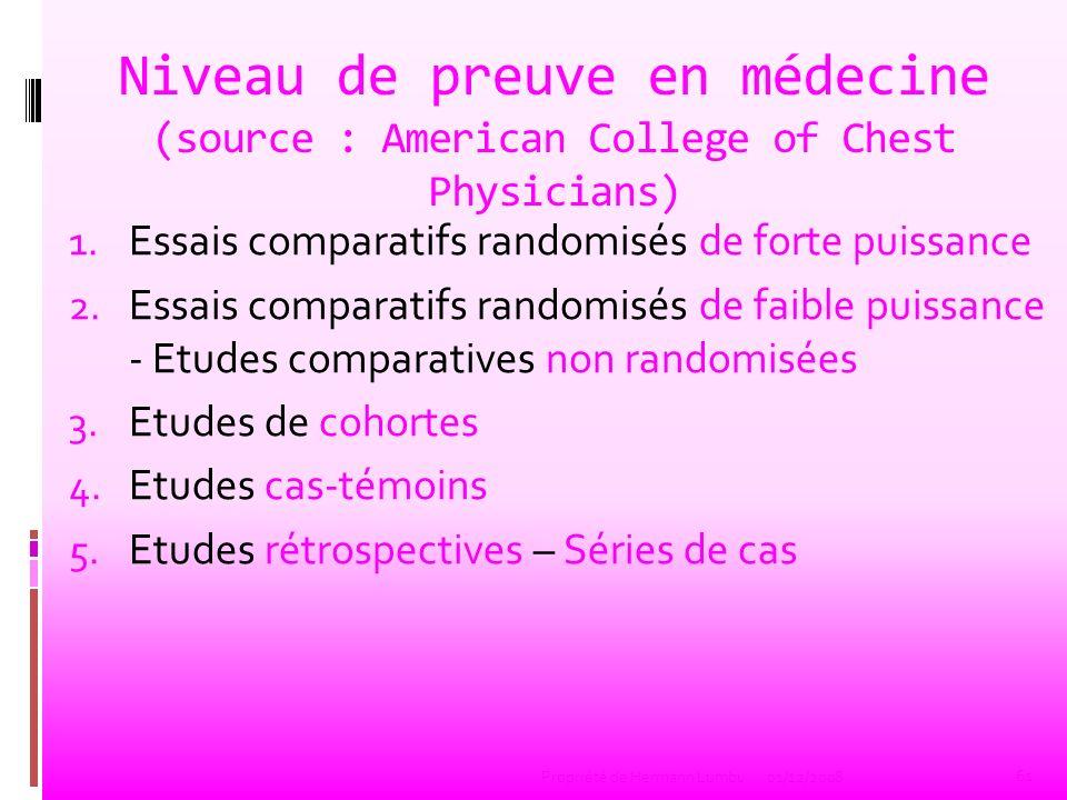 Niveau de preuve en médecine (source : American College of Chest Physicians) 1. Essais comparatifs randomisés de forte puissance 2. Essais comparatifs