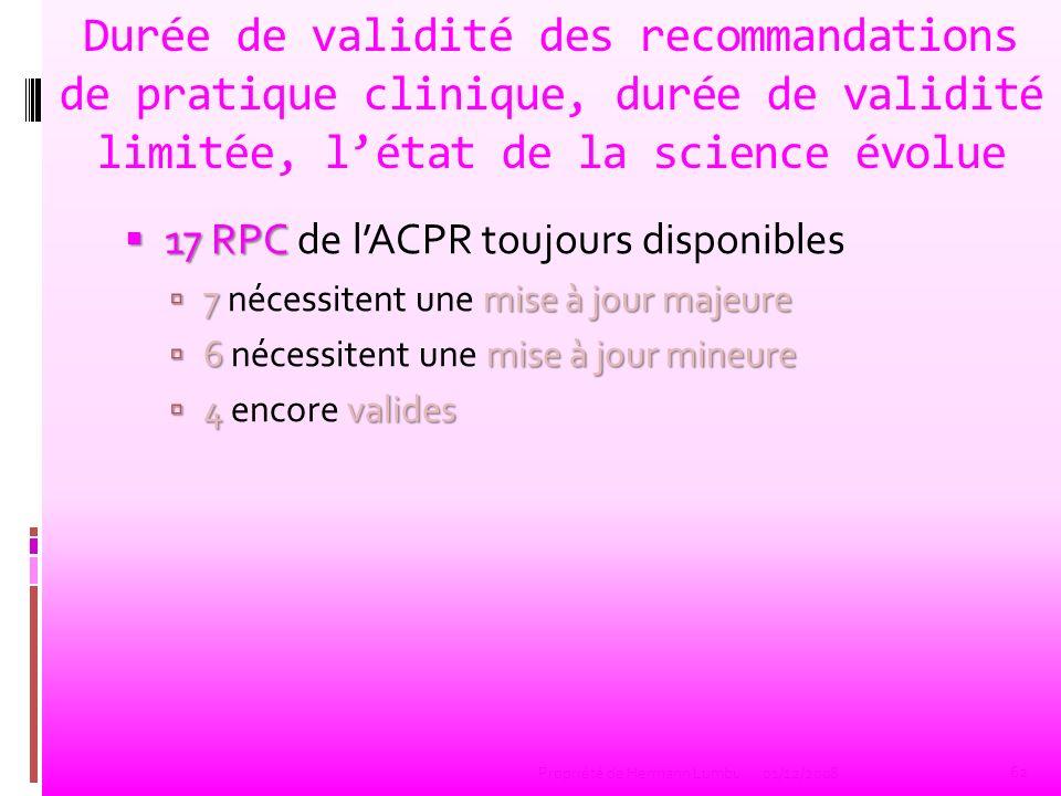 Durée de validité des recommandations de pratique clinique, durée de validité limitée, létat de la science évolue 17 RPC 17 RPC de lACPR toujours disp