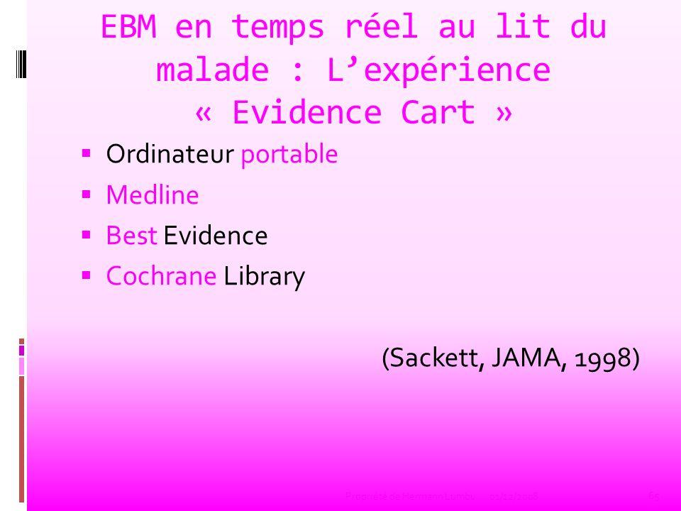EBM en temps réel au lit du malade : Lexpérience « Evidence Cart » Ordinateur portable Medline Best Evidence Cochrane Library (Sackett, JAMA, 1998) 65