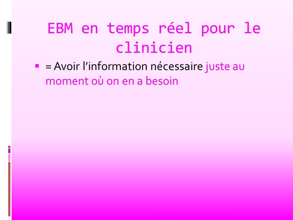 EBM en temps réel pour le clinicien = Avoir linformation nécessaire juste au moment où on en a besoin 67 Propriété de Hermann Lumbu01/12/2008