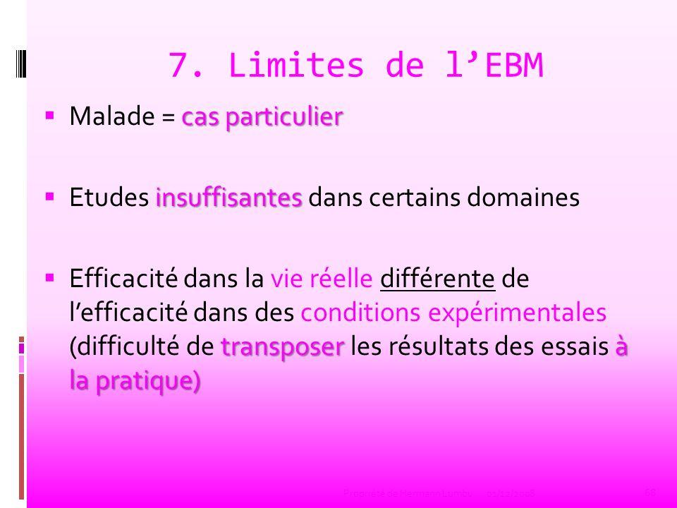 7. Limites de lEBM cas particulier Malade = cas particulier insuffisantes Etudes insuffisantes dans certains domaines transposer à la pratique) Effica