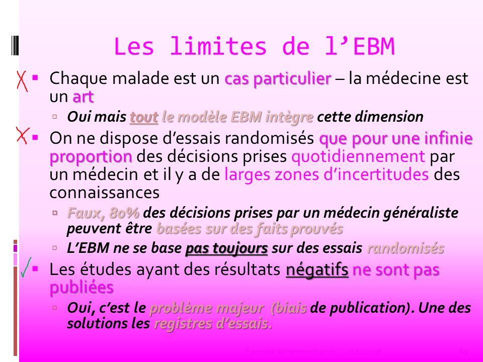 Les limites de lEBM cas particulier art Chaque malade est un cas particulier – la médecine est un art tout le modèle EBM intègre Oui mais tout le modè