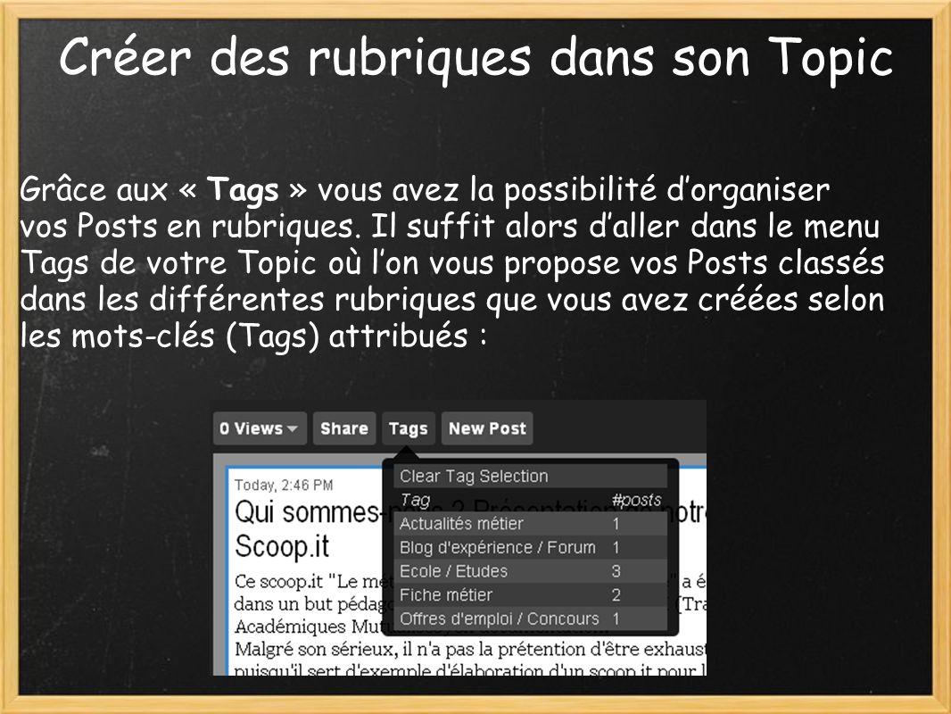 Créer des rubriques dans son Topic Grâce aux « Tags » vous avez la possibilité dorganiser vos Posts en rubriques.