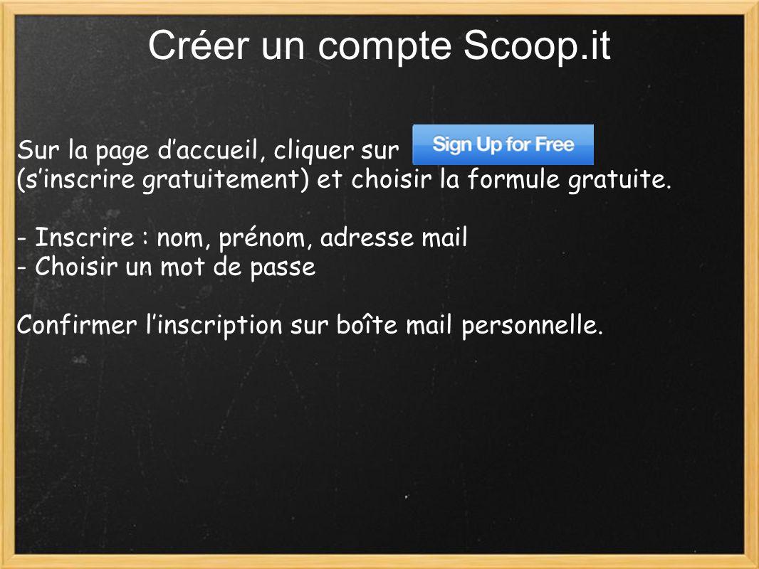 Créer un compte Scoop.it Sur la page daccueil, cliquer sur (sinscrire gratuitement) et choisir la formule gratuite.