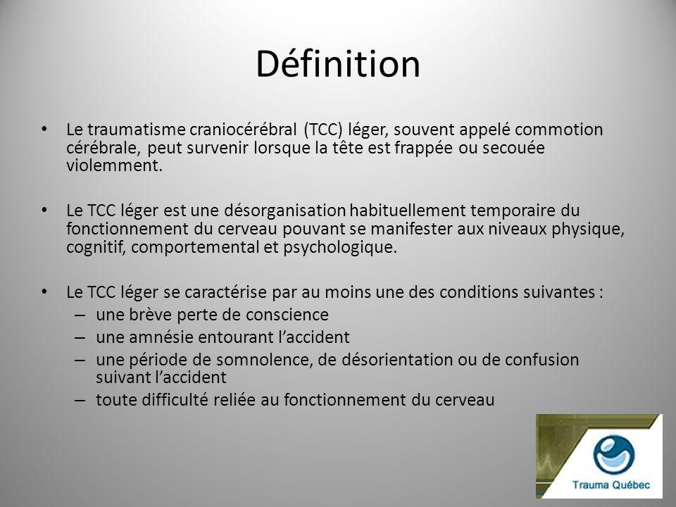 Définition Le traumatisme craniocérébral (TCC) léger, souvent appelé commotion cérébrale, peut survenir lorsque la tête est frappée ou secouée violemm