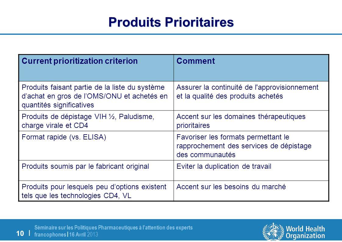 10 | Séminaire sur les Politiques Pharmaceutiques à l attention des experts francophones | 16 Avril 2013 Produits Prioritaires CommentCurrent prioritization criterion Assurer la continuité de l approvisionnement et la qualité des produits achetés Produits faisant partie de la liste du système dachat en gros de lOMS/ONU et achetés en quantités significatives Accent sur les domaines thérapeutiques prioritaires Produits de dépistage VIH ½, Paludisme, charge virale et CD4 Favoriser les formats permettant le rapprochement des services de dépistage des communautés Format rapide (vs.