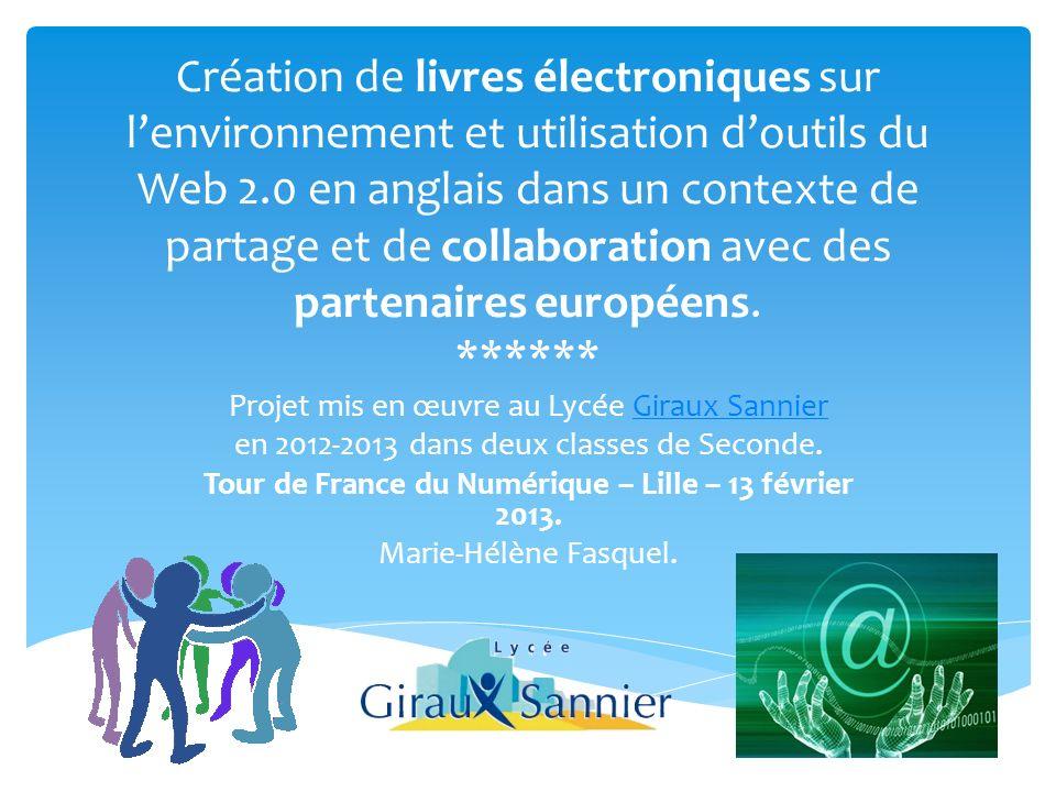 Création de livres électroniques sur lenvironnement et utilisation doutils du Web 2.0 en anglais dans un contexte de partage et de collaboration avec