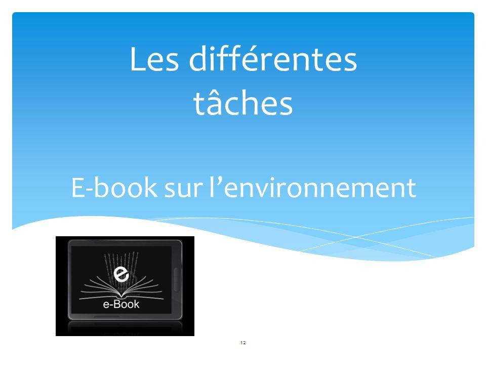 E-book sur lenvironnement Les différentes tâches 12