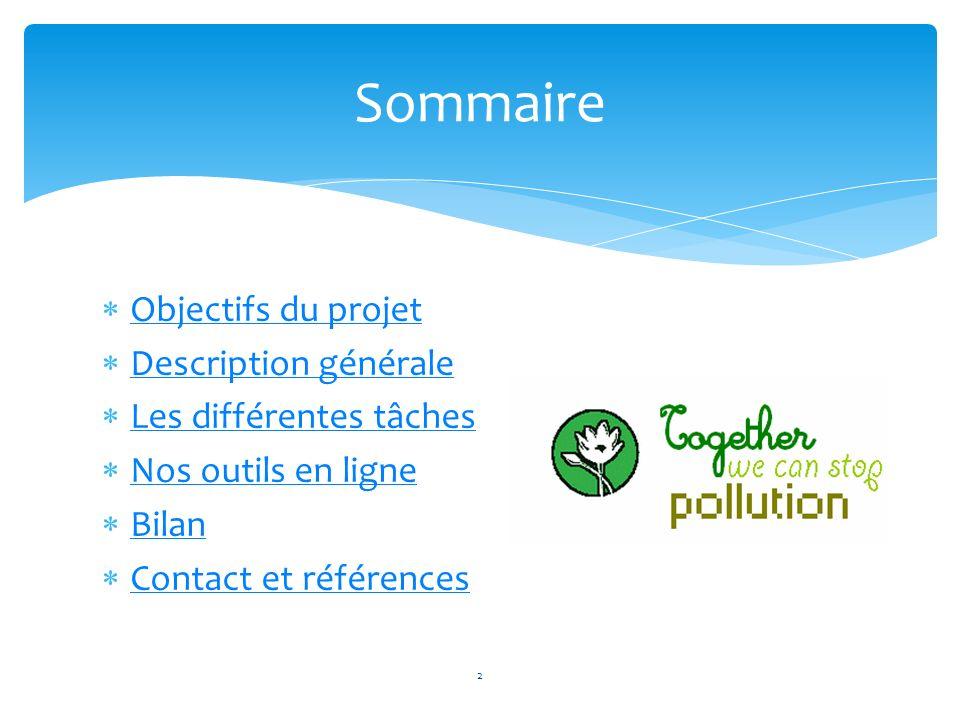 Objectifs du projet Description générale Les différentes tâches Nos outils en ligne Bilan Contact et références Sommaire 2