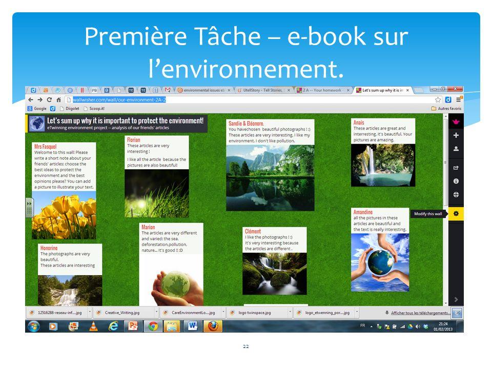 22 Première Tâche – e-book sur lenvironnement.