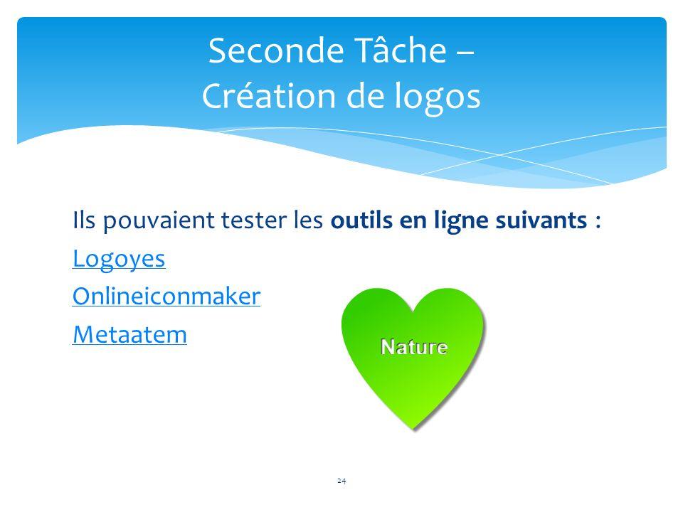 Ils pouvaient tester les outils en ligne suivants : Logoyes Onlineiconmaker Metaatem 24 Seconde Tâche – Création de logos
