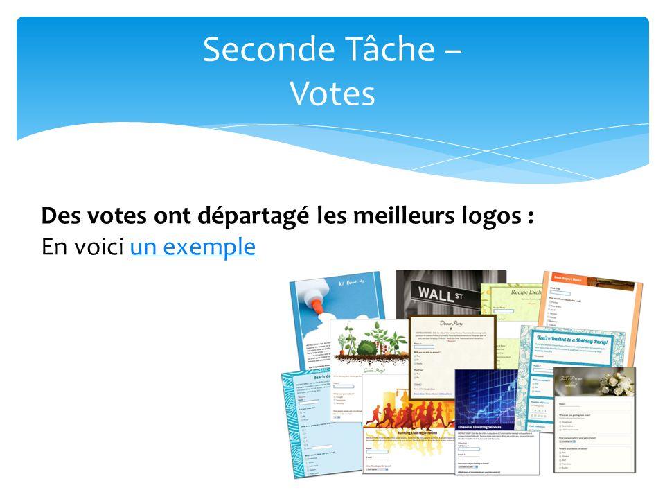 30 Seconde Tâche – Votes Des votes ont départagé les meilleurs logos : En voici un exempleun exemple