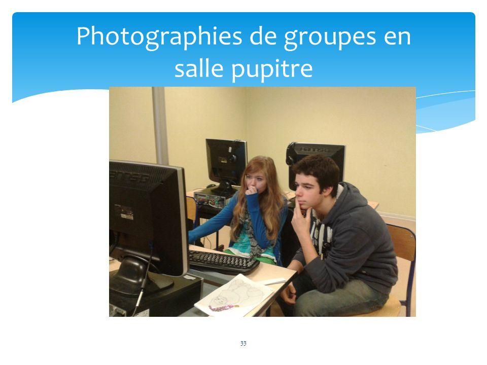 33 Photographies de groupes en salle pupitre