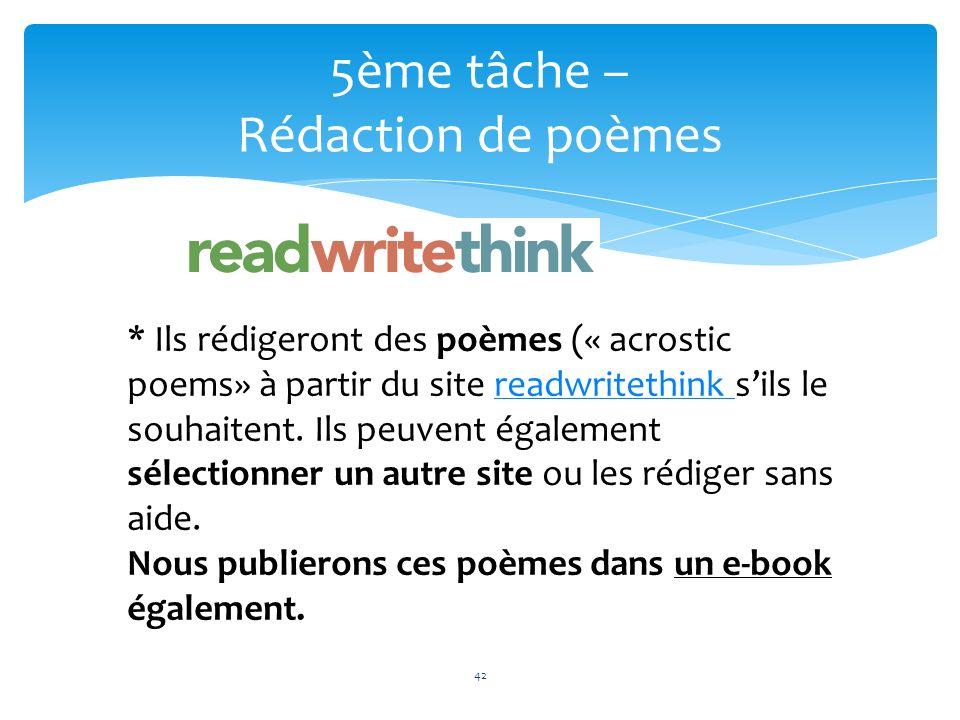 42 5ème tâche – Rédaction de poèmes 42 * Ils rédigeront des poèmes (« acrostic poems» à partir du site readwritethink sils le souhaitent. Ils peuvent