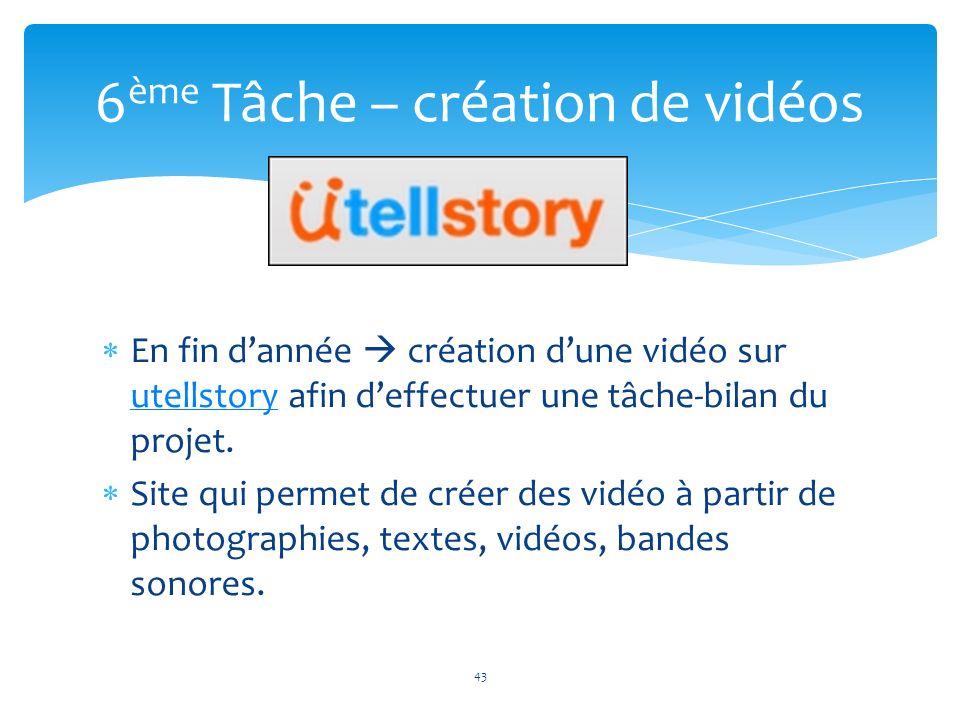 En fin dannée création dune vidéo sur utellstory afin deffectuer une tâche-bilan du projet. utellstory Site qui permet de créer des vidéo à partir de