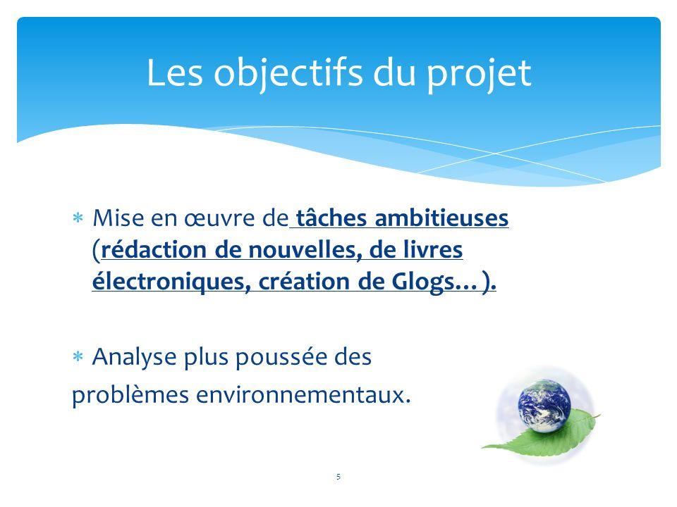La plus importante réussite de ce projet est celle de la prise de conscience des problèmes environnementaux qui découle dun travail de groupe et dune utilisation optimale des nouvelles technologies au service dune cause.