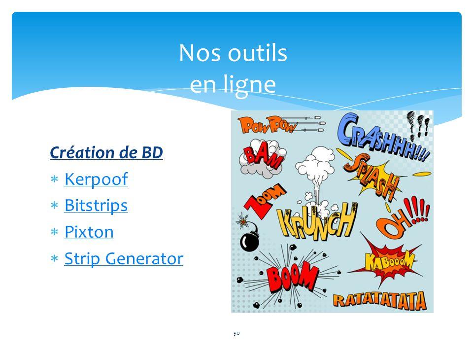 Création de BD Kerpoof Bitstrips Pixton Strip Generator 50 Nos outils en ligne 50
