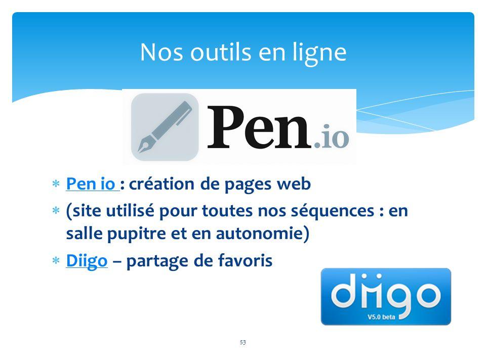 Pen io : création de pages web Pen io (site utilisé pour toutes nos séquences : en salle pupitre et en autonomie) Diigo – partage de favoris Diigo 53