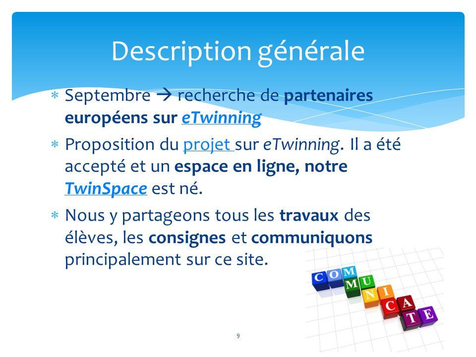 Septembre recherche de partenaires européens sur eTwinningeTwinning Proposition du projet sur eTwinning. Il a été accepté et un espace en ligne, notre