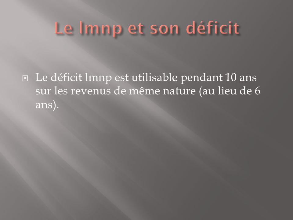 Le déficit lmnp est utilisable pendant 10 ans sur les revenus de même nature (au lieu de 6 ans).