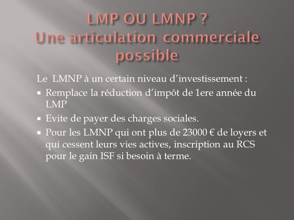 Le LMNP à un certain niveau dinvestissement : Remplace la réduction dimpôt de 1ere année du LMP Evite de payer des charges sociales. Pour les LMNP qui