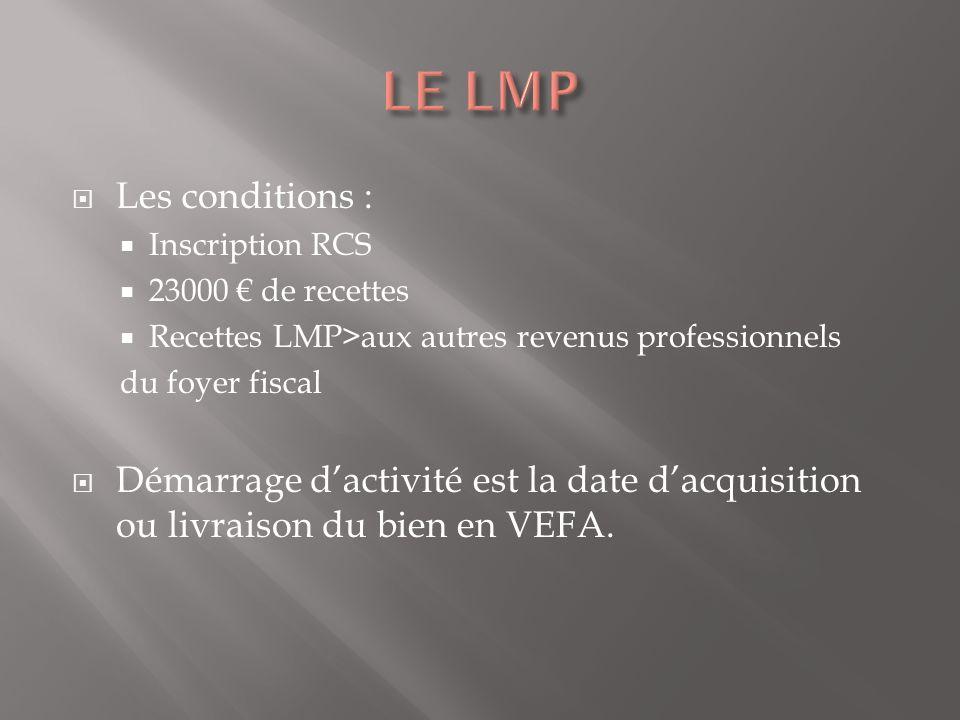 Les conditions : Inscription RCS 23000 de recettes Recettes LMP>aux autres revenus professionnels du foyer fiscal Démarrage dactivité est la date dacquisition ou livraison du bien en VEFA.