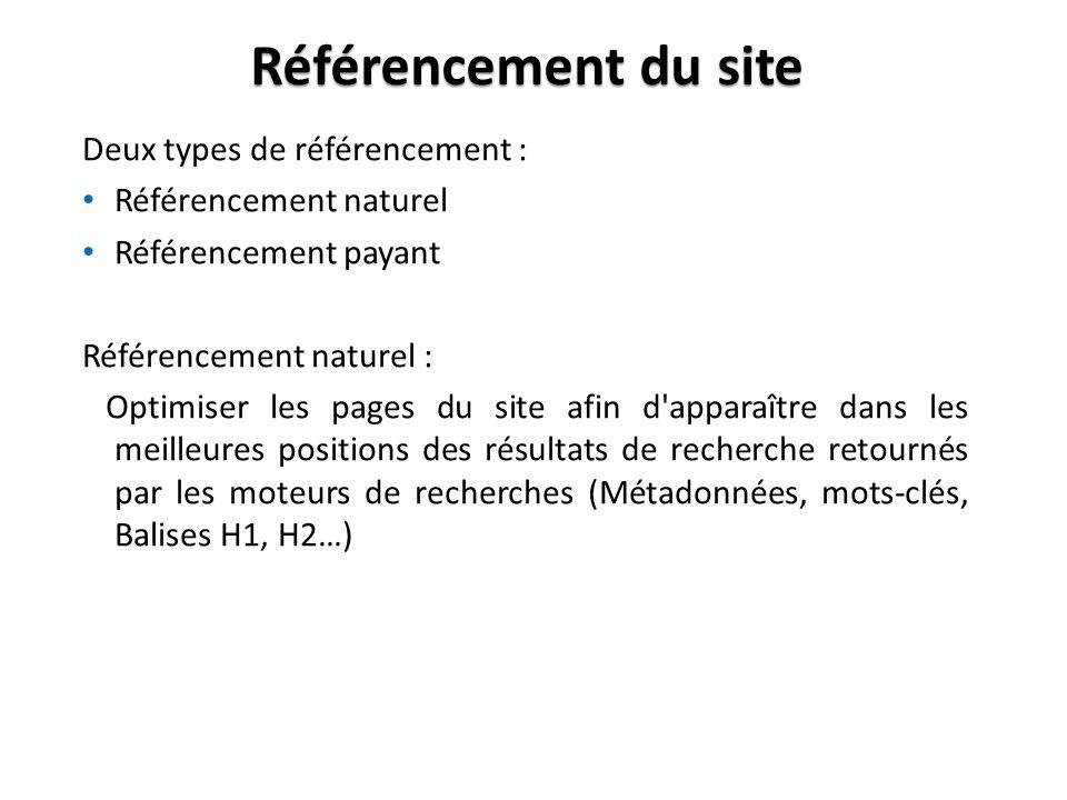 Référencement du site Deux types de référencement : Référencement naturel Référencement payant Référencement naturel : Optimiser les pages du site afin d apparaître dans les meilleures positions des résultats de recherche retournés par les moteurs de recherches (Métadonnées, mots-clés, Balises H1, H2…)