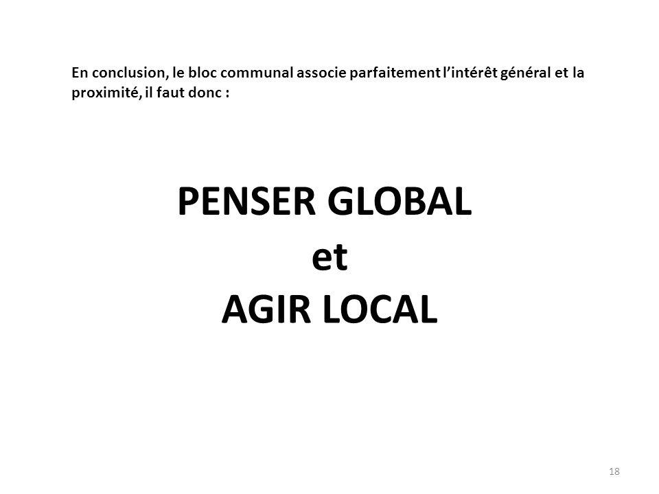 et AGIR LOCAL En conclusion, le bloc communal associe parfaitement lintérêt général et la proximité, il faut donc : PENSER GLOBAL 18