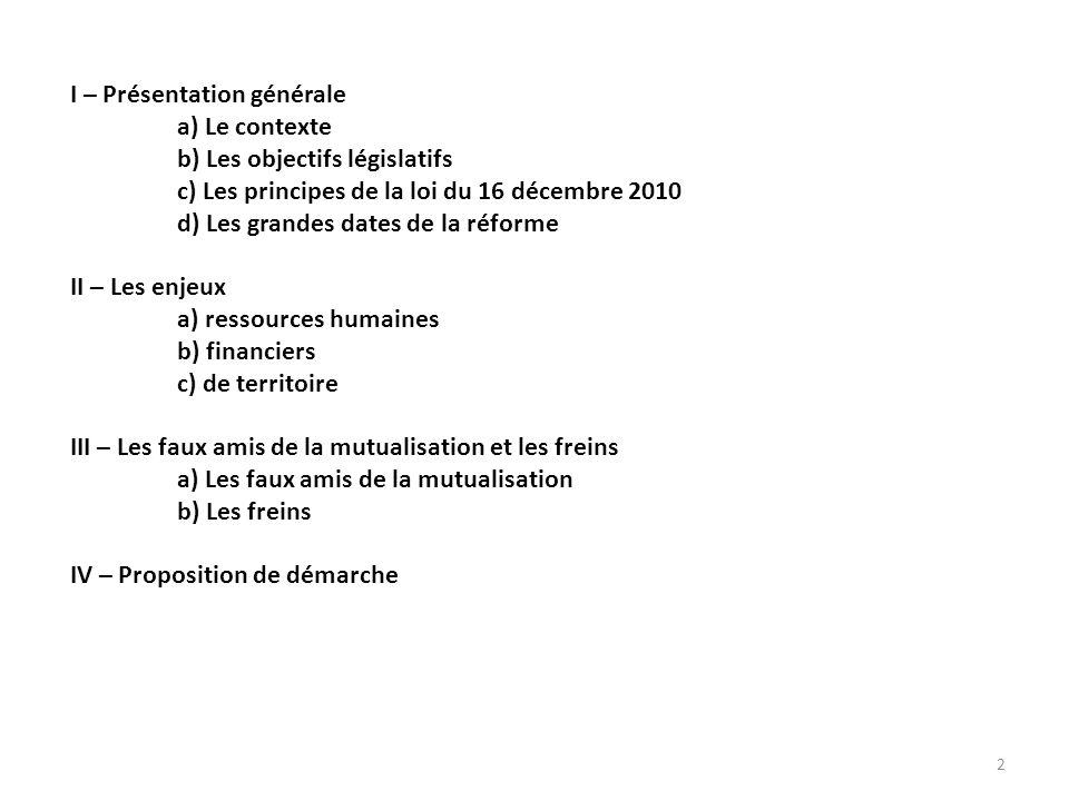 I – Présentation générale a) Le contexte b) Les objectifs législatifs c) Les principes de la loi du 16 décembre 2010 d) Les grandes dates de la réforme II – Les enjeux a) ressources humaines b) financiers c) de territoire III – Les faux amis de la mutualisation et les freins a) Les faux amis de la mutualisation b) Les freins IV – Proposition de démarche 2