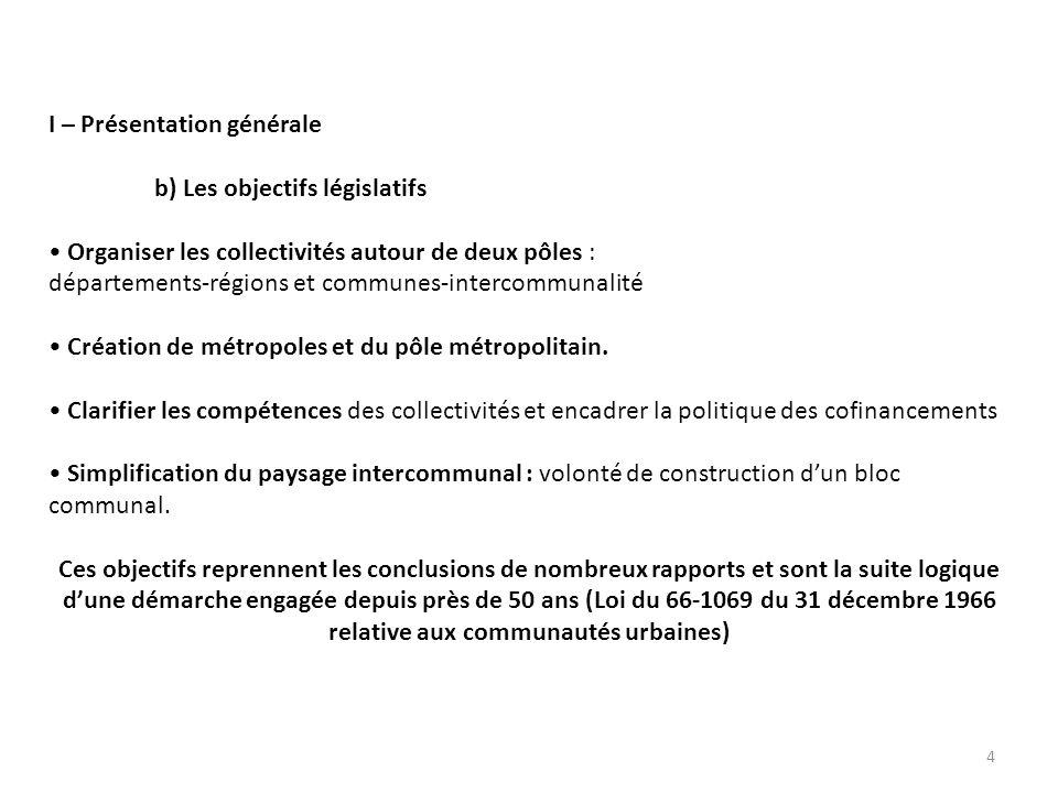I – Présentation générale b) Les objectifs législatifs Organiser les collectivités autour de deux pôles : départements-régions et communes-intercommunalité Création de métropoles et du pôle métropolitain.