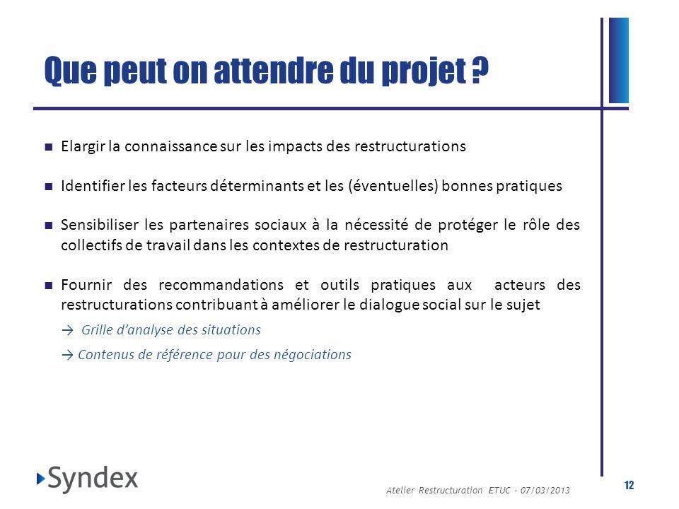 Atelier Restructuration ETUC - 07/03/2013 12 Que peut on attendre du projet ? Elargir la connaissance sur les impacts des restructurations Identifier