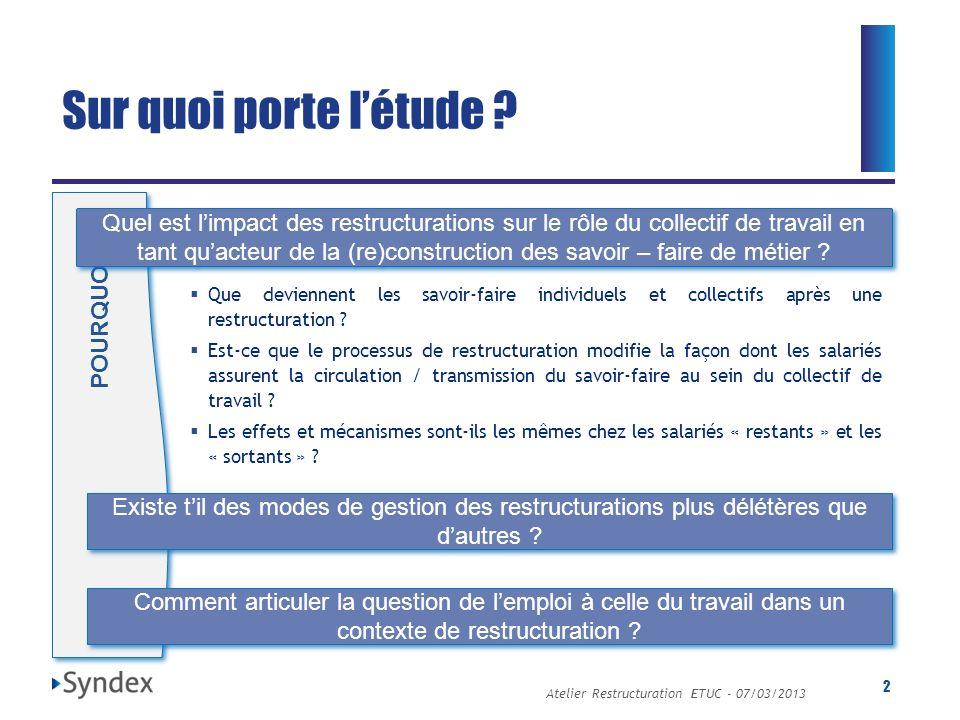 Atelier Restructuration ETUC - 07/03/2013 2 Sur quoi porte létude ? POURQUOI ? Quel est limpact des restructurations sur le rôle du collectif de trava