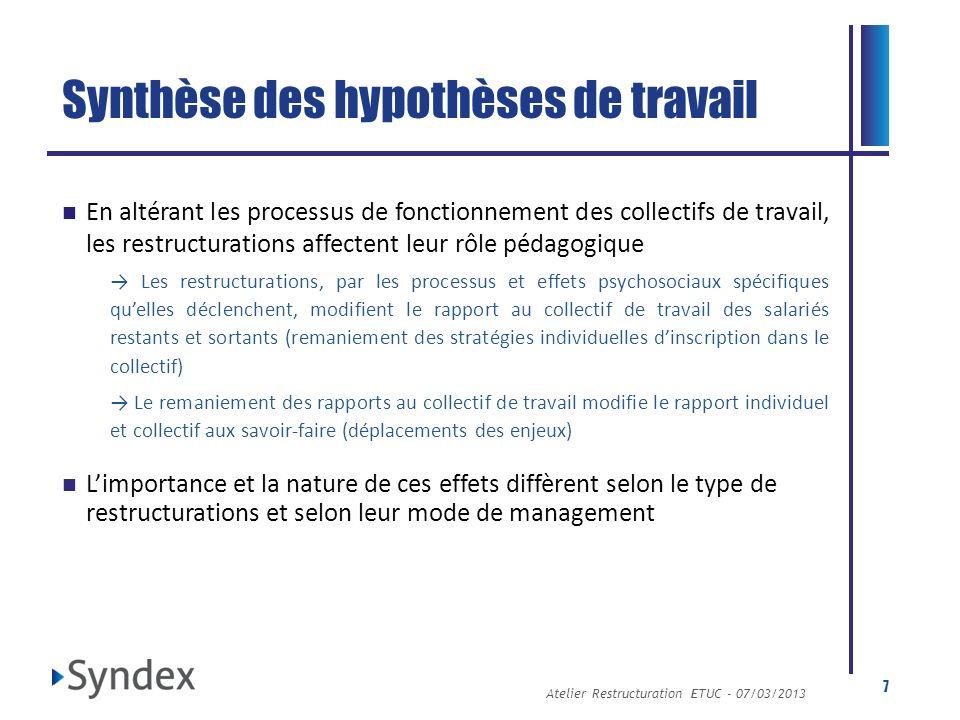 Atelier Restructuration ETUC - 07/03/2013 7 Synthèse des hypothèses de travail En altérant les processus de fonctionnement des collectifs de travail,