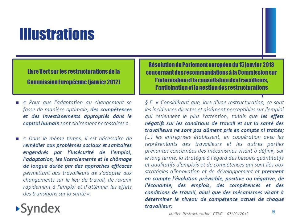 Atelier Restructuration ETUC - 07/03/2013 9 Livre Vert sur les restructurations de la Commission Européenne (janvier 2012) Résolution du Parlement eur