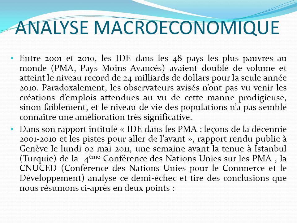 ANALYSE MACROECONOMIQUE Entre 2001 et 2010, les IDE dans les 48 pays les plus pauvres au monde (PMA, Pays Moins Avancés) avaient doublé de volume et atteint le niveau record de 24 milliards de dollars pour la seule année 2010.