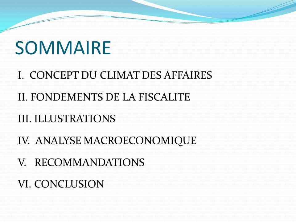 SOMMAIRE I. CONCEPT DU CLIMAT DES AFFAIRES II. FONDEMENTS DE LA FISCALITE III. ILLUSTRATIONS IV. ANALYSE MACROECONOMIQUE V. RECOMMANDATIONS VI. CONCLU