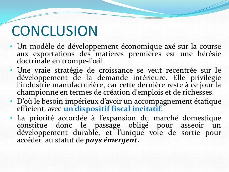 CONCLUSION Un modèle de développement économique axé sur la course aux exportations des matières premières est une hérésie doctrinale en trompe-l œil.