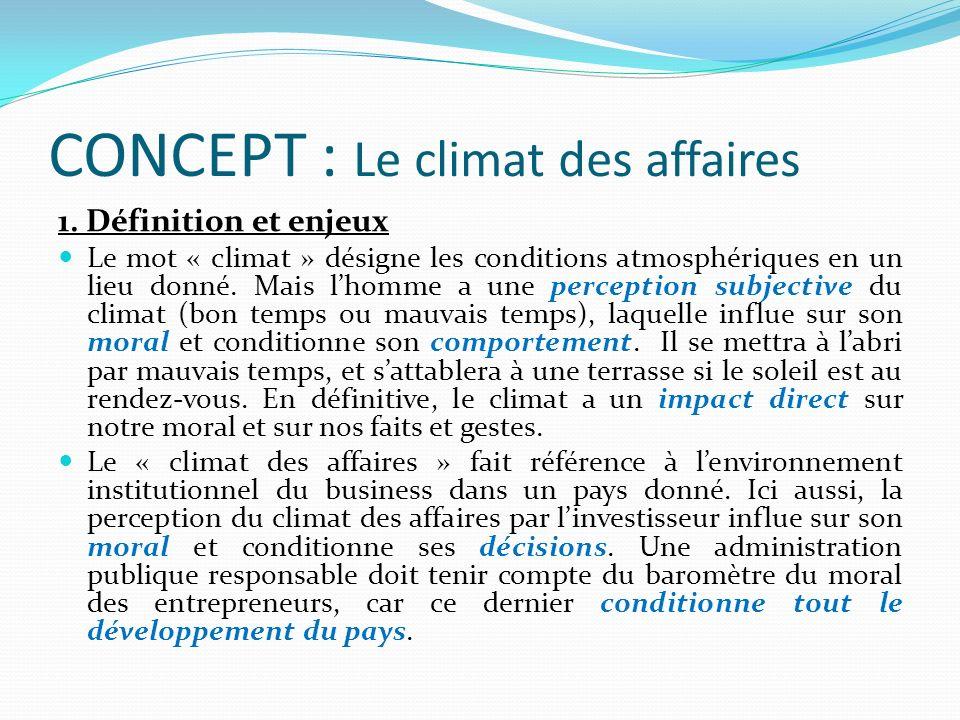 CONCEPT : Le climat des affaires 1. Définition et enjeux Le mot « climat » désigne les conditions atmosphériques en un lieu donné. Mais lhomme a une p